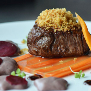 Beef Tenderloin Carrot in three ways daube sauce