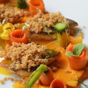 Crispy Sea Bass, Orange and Carrots in three ways