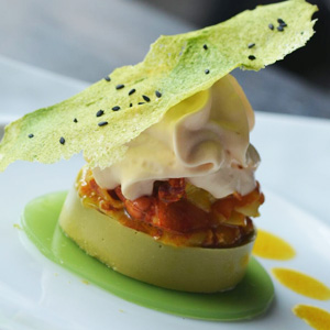 Marinated Curry Prawns, Green Pea Guacamole and Lobster Espuma