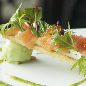 Marinated and Salmon Tart, Herb Ice-Cream