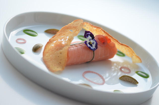 Scottish Lochfine Smoked Salmon Parcel, Chive Coulis, Crispy Toasted Bread