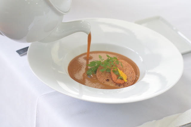 Lobster Bisque Soup, Pan-Seared Slipper Lobster,  Lemongrass Emulsion, Crispy Melba